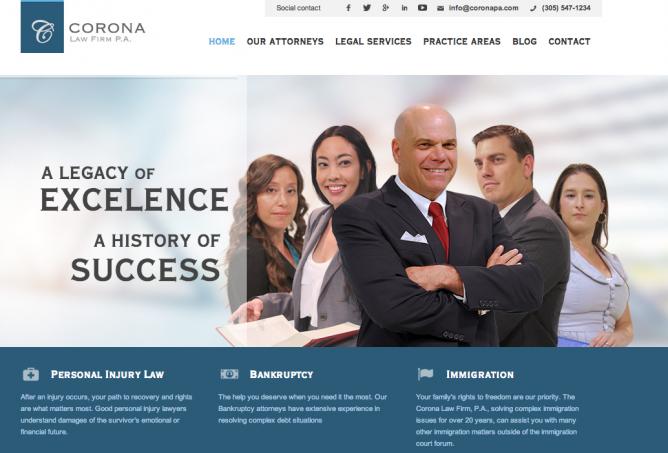 Corona Law Firm Website